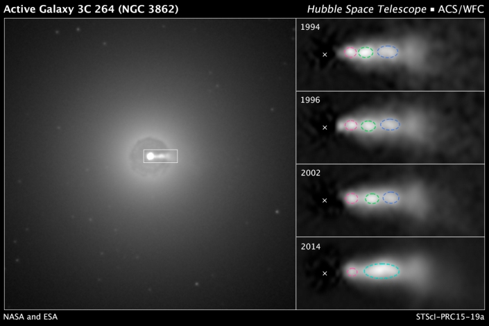 ภาพใจกลางของดาราจักร NGC 3862 ที่มีลำแสงเจ็ทพุ่งออกมา ภาพจากกล้องโทรทรรศน์อวกาศฮับเบิลของนาซ่า